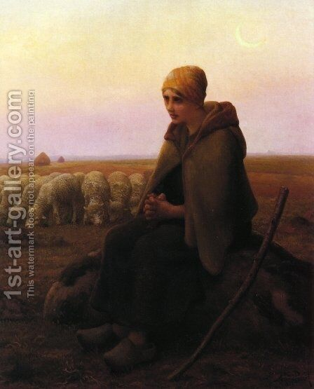 A Resting Shepherdess by Aime Perret - Reproduction Oil Painting