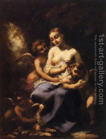 Young Nymph and Three Cupids by Narcisse-Virgile Díaz de la Peña - Reproduction Oil Painting