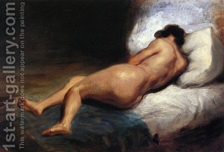 Study of a Reclining Nude by Eugene Delacroix - Reproduction Oil Painting