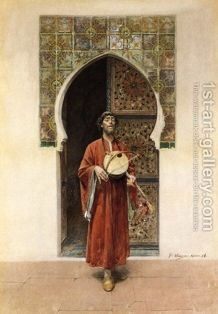 Man with a Lute by Gustavo Simoni - Reproduction Oil Painting
