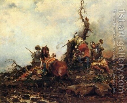 Sounding of the Horn by Cesare-Auguste Detti - Reproduction Oil Painting