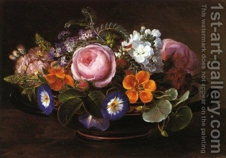 Still Life with Pink Peonies and Morning Glories by Johan Laurentz Jensen - Reproduction Oil Painting