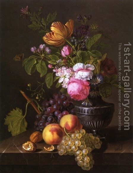Still Life with Flowers, Peaches and Grapes by Jean-Baptiste Desprest - Reproduction Oil Painting