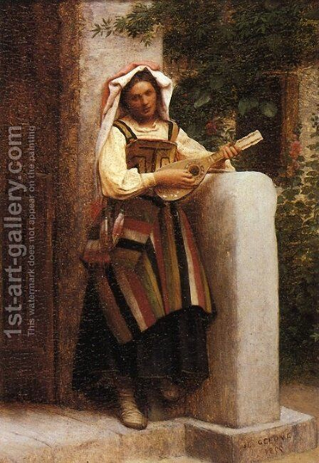 An Italian Girl Playing a Mandolin by Jean-Léon Gérôme - Reproduction Oil Painting