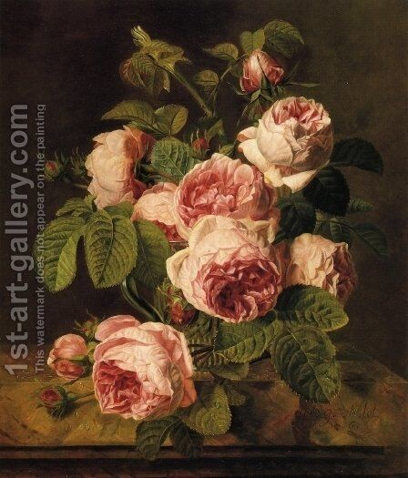 Pink Roses on a Marble Ledge by Iphigenie Milet-Mureau - Reproduction Oil Painting