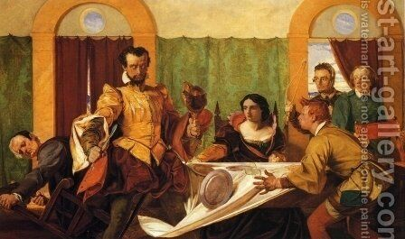 The Dinner Scene from 'The Taming of the Shrew' by Augustus Leopold Egg - Reproduction Oil Painting