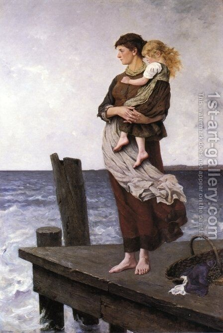 Waiting by August Wilhelm Nikolaus Hagborg - Reproduction Oil Painting