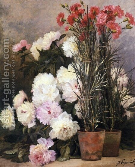 Peonies and Red Carnations by Jean Capeinick - Reproduction Oil Painting
