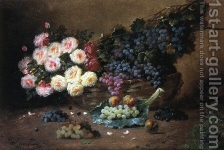 Still Life with Roses and Grapes by Max Carlier - Reproduction Oil Painting