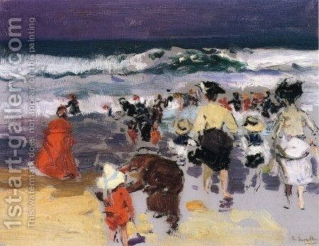 The Beach at Biarritz (sketch) by Joaquin Sorolla y Bastida - Reproduction Oil Painting