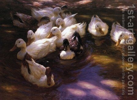 Eleven Ducks in the Morning Sun by Alexander Max Koester - Reproduction Oil Painting