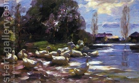 Twelve Ducks Setting Out by Alexander Max Koester - Reproduction Oil Painting