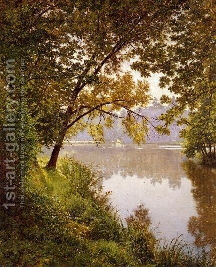 From the Water's Edge by Henri Biva - Reproduction Oil Painting