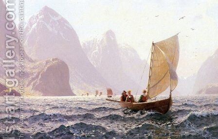 Regatta on a Norwegian Fiord by Hans Dahl - Reproduction Oil Painting