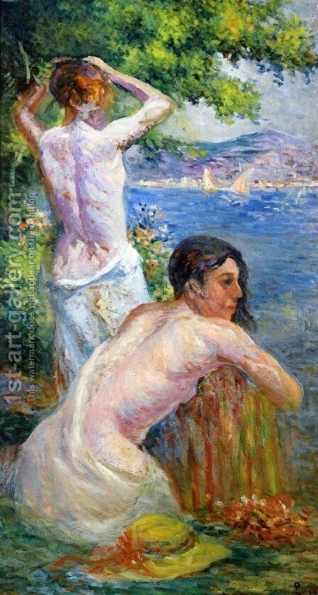 Saint Tropez, Two Woman by the Gulf by Maximilien Luce - Reproduction Oil Painting