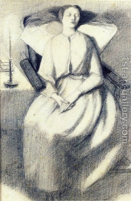 Elizabeth Siddal Seated in a Chair by Dante Gabriel Rossetti - Reproduction Oil Painting