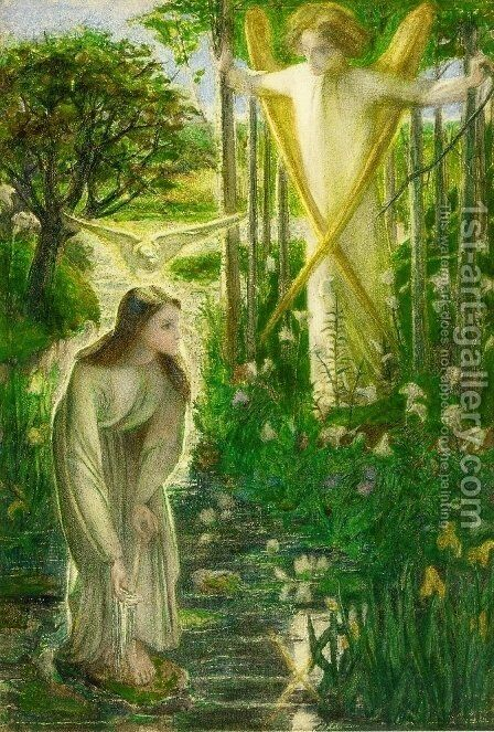 The Annunciation I by Dante Gabriel Rossetti - Reproduction Oil Painting
