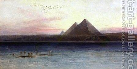 The Pyramids of Ghizeh by Edward Lear - Reproduction Oil Painting