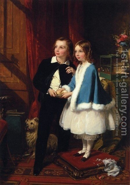 Lord Almeric Athelstan Spencer-Churchill and Lady Clementina Spencer-Churchill, the Children of George Spencer-Churchill, 6th Duke of Marlborough, and His Second Wife, Charlotte Augusta by James Sant - Reproduction Oil Painting