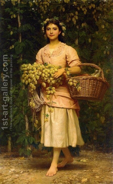 The Hop Picker by Charles E. Perugini - Reproduction Oil Painting