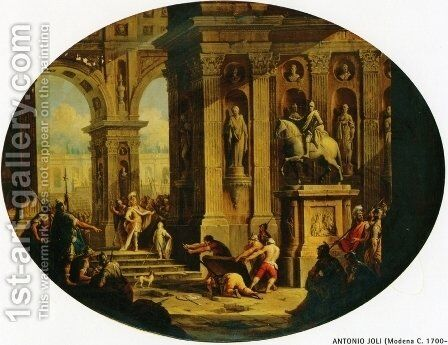 A Capriccio of a Classical Palace with Alexander at the Tomb of Achilles by Antonio Joli - Reproduction Oil Painting