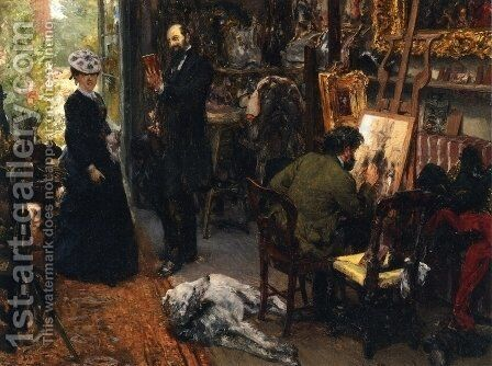 Meissonier in his Studio at Poissy by Adolph von Menzel - Reproduction Oil Painting