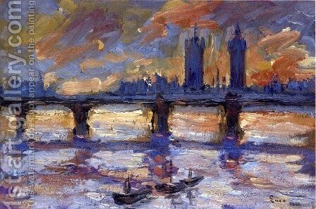 London, the Thames, Evening by Maximilien Luce - Reproduction Oil Painting