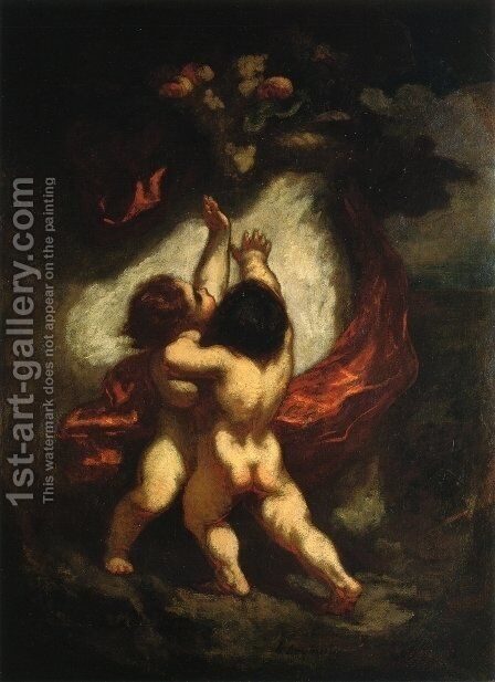 Two Cupids with Red Drapery by Honoré Daumier - Reproduction Oil Painting
