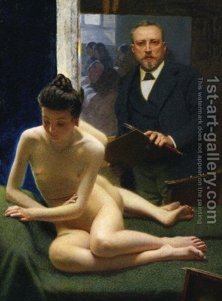 Self Portrait by Angelo Morbelli - Reproduction Oil Painting
