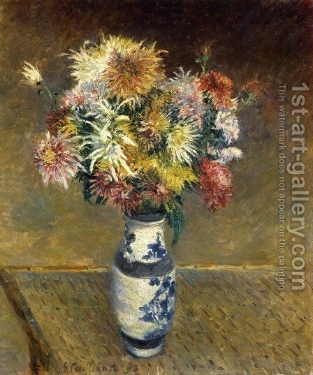 Chrysanthemums in a Vase by Gustave Caillebotte - Reproduction Oil Painting