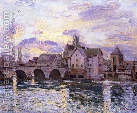 The Bridge at Moret at Sunset by Alfred Sisley - Reproduction Oil Painting