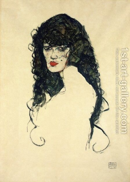 Portrait of a Woman with Black Hair by Egon Schiele - Reproduction Oil Painting