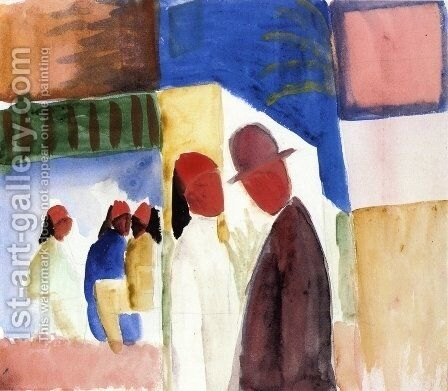 On the Street by August Macke - Reproduction Oil Painting