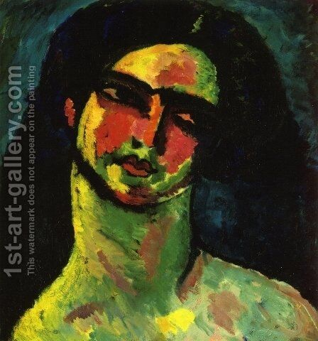 Head of An Italian Woman witih Black Hair from the Front by Alexei Jawlensky - Reproduction Oil Painting