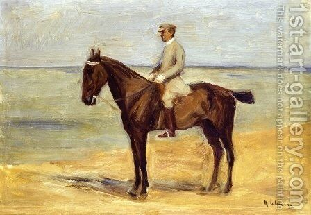 Rider on the Beach Facing Left by Max Liebermann - Reproduction Oil Painting