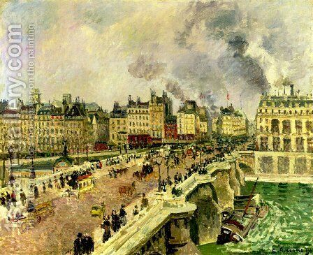 """The Pont Neuf, Shipwreck of the """"Bonne Mere"""" by Camille Pissarro - Reproduction Oil Painting"""