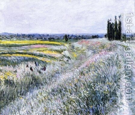The Plain at Gennevilliers, Group of Poplars by Gustave Caillebotte - Reproduction Oil Painting