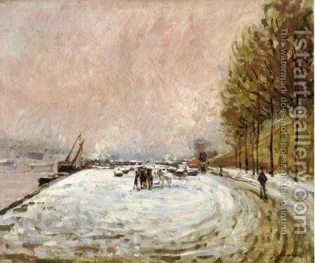 Quai Saint Bernard in the Snow by Armand Guillaumin - Reproduction Oil Painting