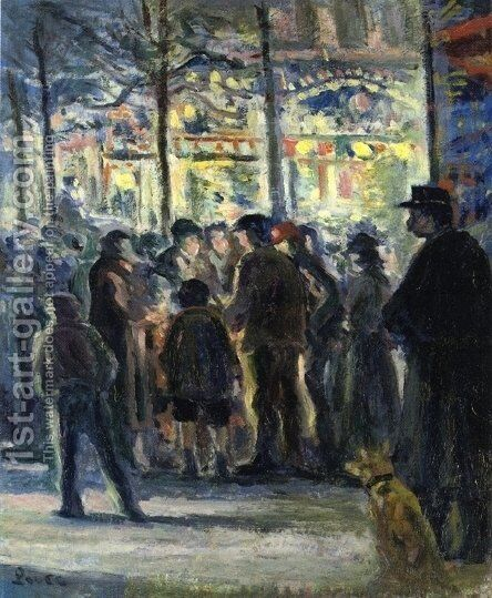 Street Scene in Winter by Maximilien Luce - Reproduction Oil Painting