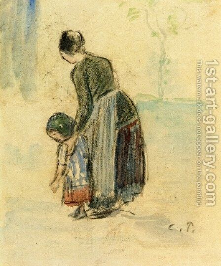 Peasant and Child by Camille Pissarro - Reproduction Oil Painting