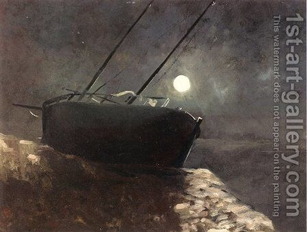 Boat in the Moonlight by Odilon Redon - Reproduction Oil Painting