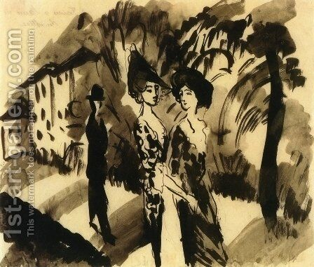 Two Women and an Man on an Avenue by August Macke - Reproduction Oil Painting