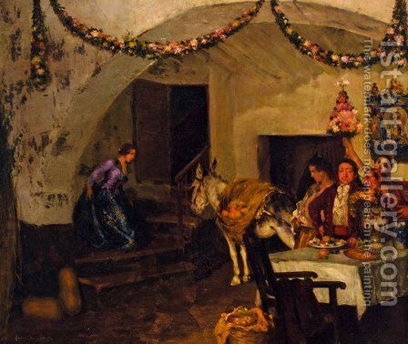 La Fiesta by Bartolome Mongrell Munoz - Reproduction Oil Painting