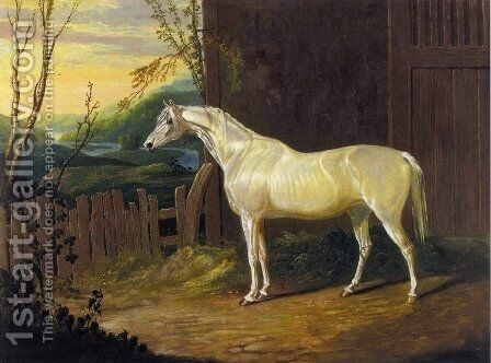 A Gray Arab Mare outside a Stable in an Extensive River Landscape by John Frederick Herring Snr - Reproduction Oil Painting