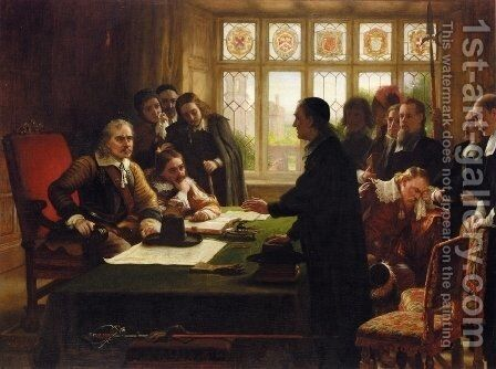 Oliver Cromwell and His Secretary John Milton, Receiving a Deputation Seeking Aid for the Swiss Protestants by Charles West Cope - Reproduction Oil Painting