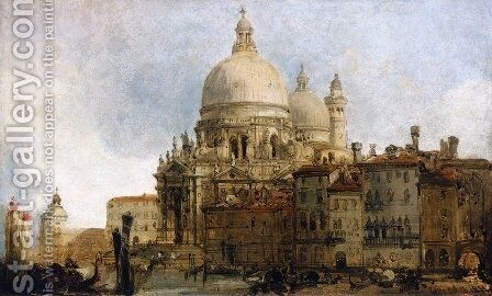 View of the Church of Santa Maria della Salute, on the Grand Canal, Venice, with the Dogana beyond by David Roberts - Reproduction Oil Painting