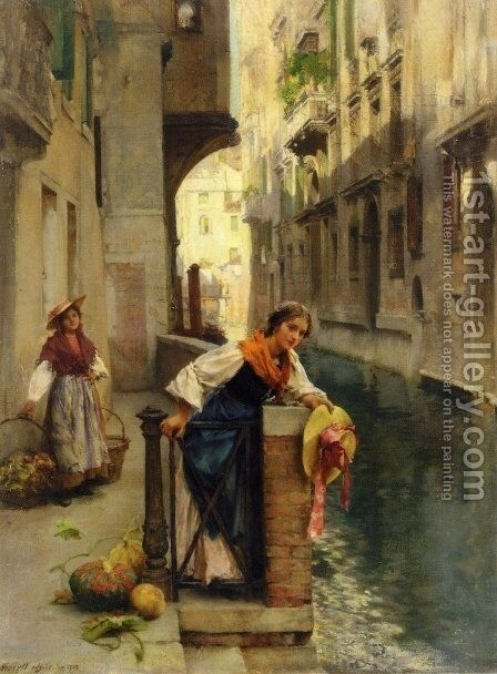 Fruit Sellers from the Islands, Venice by David Roberts - Reproduction Oil Painting