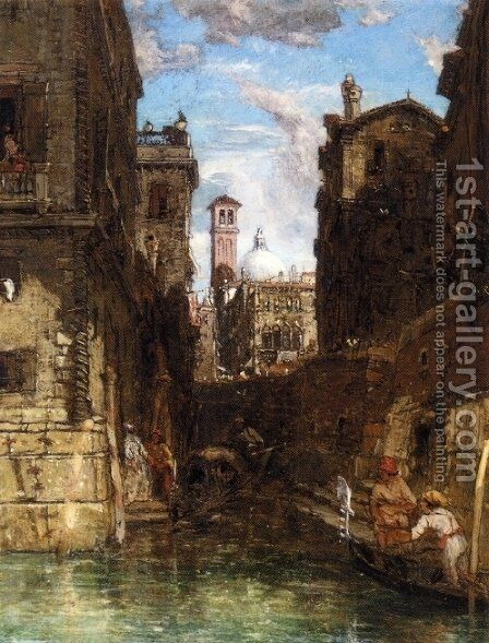 A Side Canal in Cannaregio, Looking towards The Church of San Geremia by James Holland - Reproduction Oil Painting