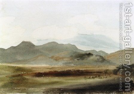 A Hilly Landscape by Cornelius Varley - Reproduction Oil Painting