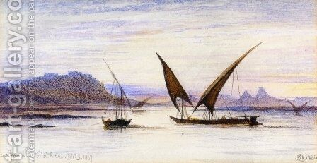 Feluccas on the Nile near Abu-Simbel by Edward Lear - Reproduction Oil Painting